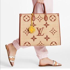 Louis Vuitton NWT ON THE GO GM MONOGRAM RAFIA TOTE
